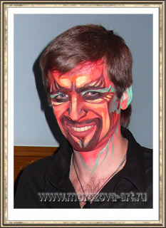 Огненный Демон,  аквагрим на празднование Хеллоуина