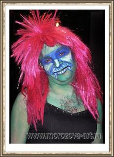 Гламурная Баба-Яга, тематический аквагрим на Хеллоуин