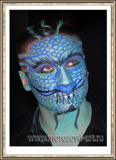 Сине-Зелёный восточный Дракон, тематический аквагрим на Хеллоуин