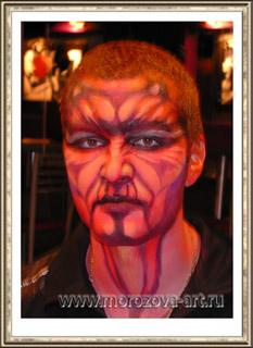 Красный Дракон,  аквагрим на празднование Хеллоуина