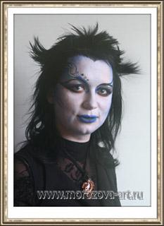 Ведьма Марго, аквагрим на празднование Хеллоуина