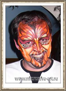 Демон, тематический аквагрим на Хеллоуин