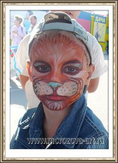 Котёнок, праздничный аквагрим на детский праздник