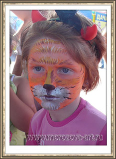 Лисичка, детский праздничный аквагрим.